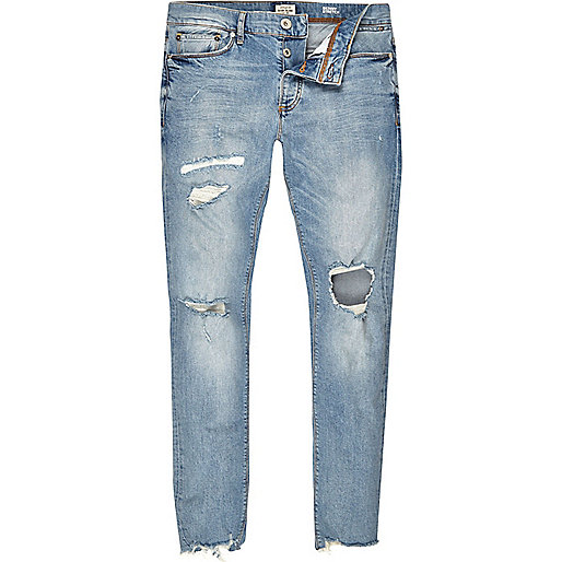 Light blue wash ripped Sid skinny jeans - jeans - sale - men