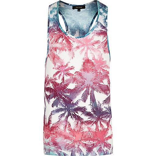 Débardeur blanc motif palmiers