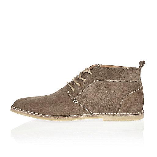 Brown suede desert boots