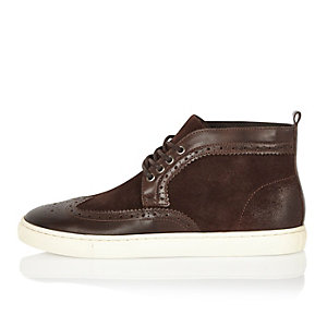 Brown suede and leather brogue boots