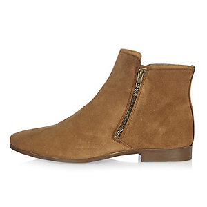 Tan suede zipped Chelsea boots