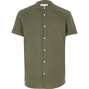 Green textured grandad shirt
