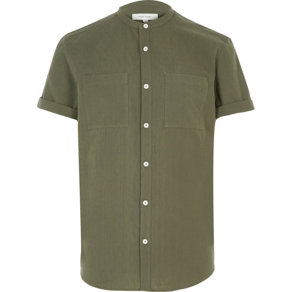 Green textured grandad shirt