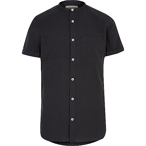 Black textured grandad shirt