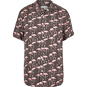 Pink flamingo print shirt