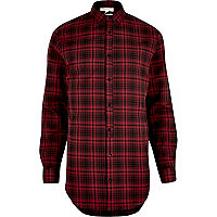 Red longline check shirt
