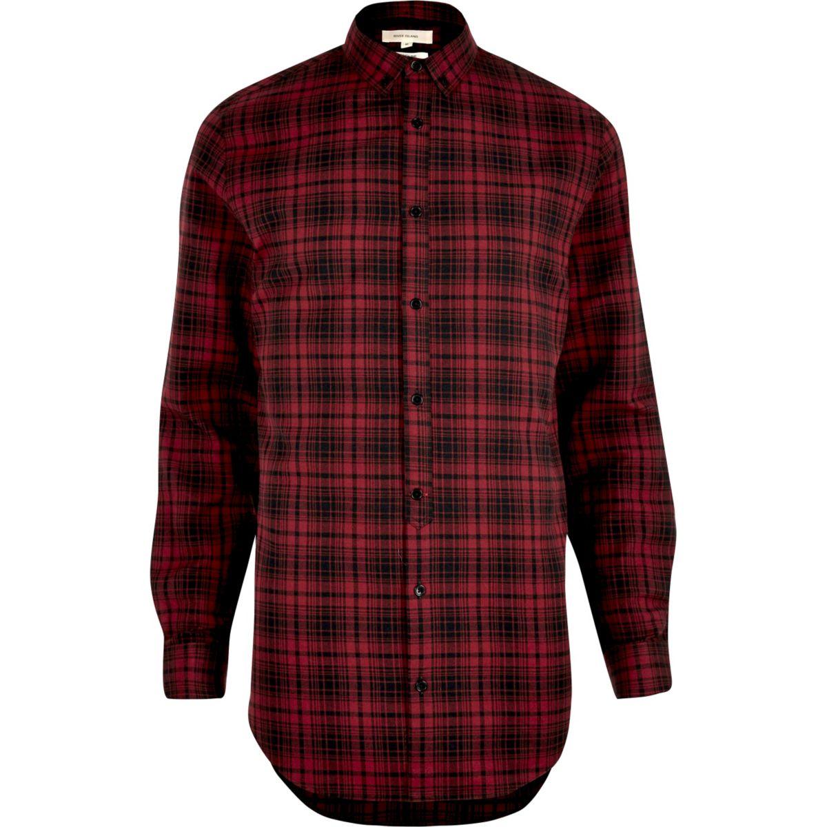 Red longline check shirt