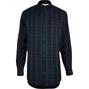 Chemise à carreaux verte coupe longue