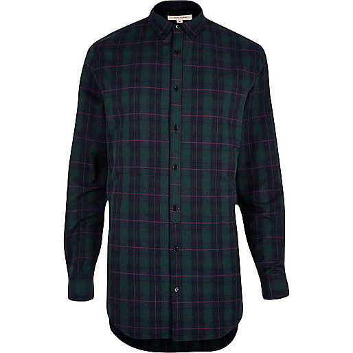 Green longline check shirt