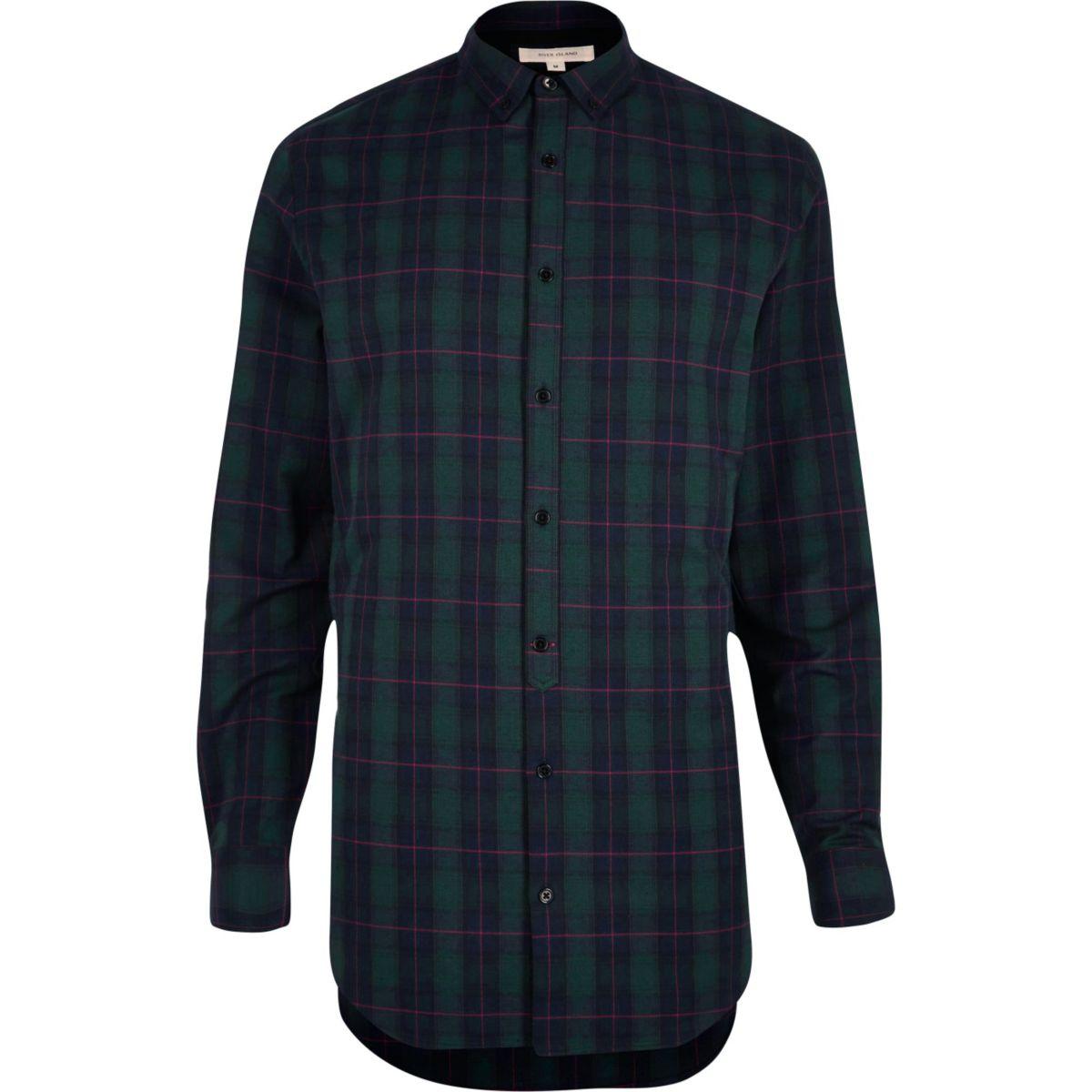 Green longline check shirt