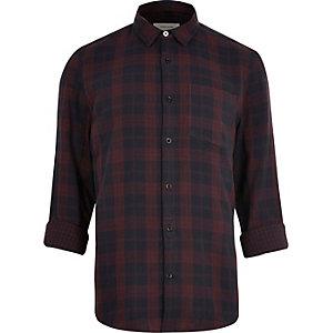 Bordeauxrood tweezijdig casual geruit overhemd