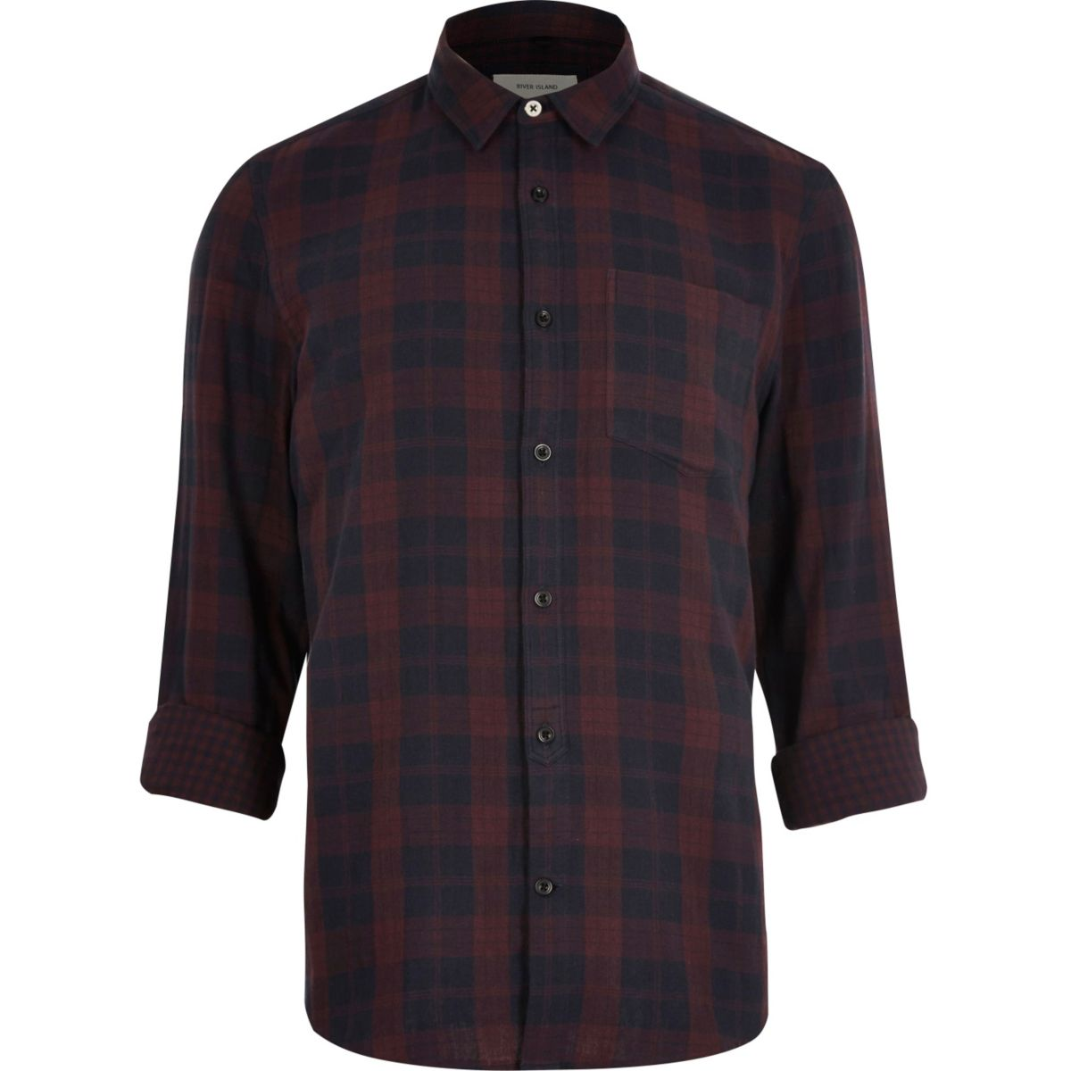 Burgundy double faced casual check shirt