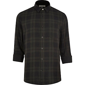Grey double faced casual check shirt