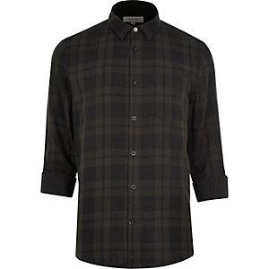 Grey double faced casual check shirt
