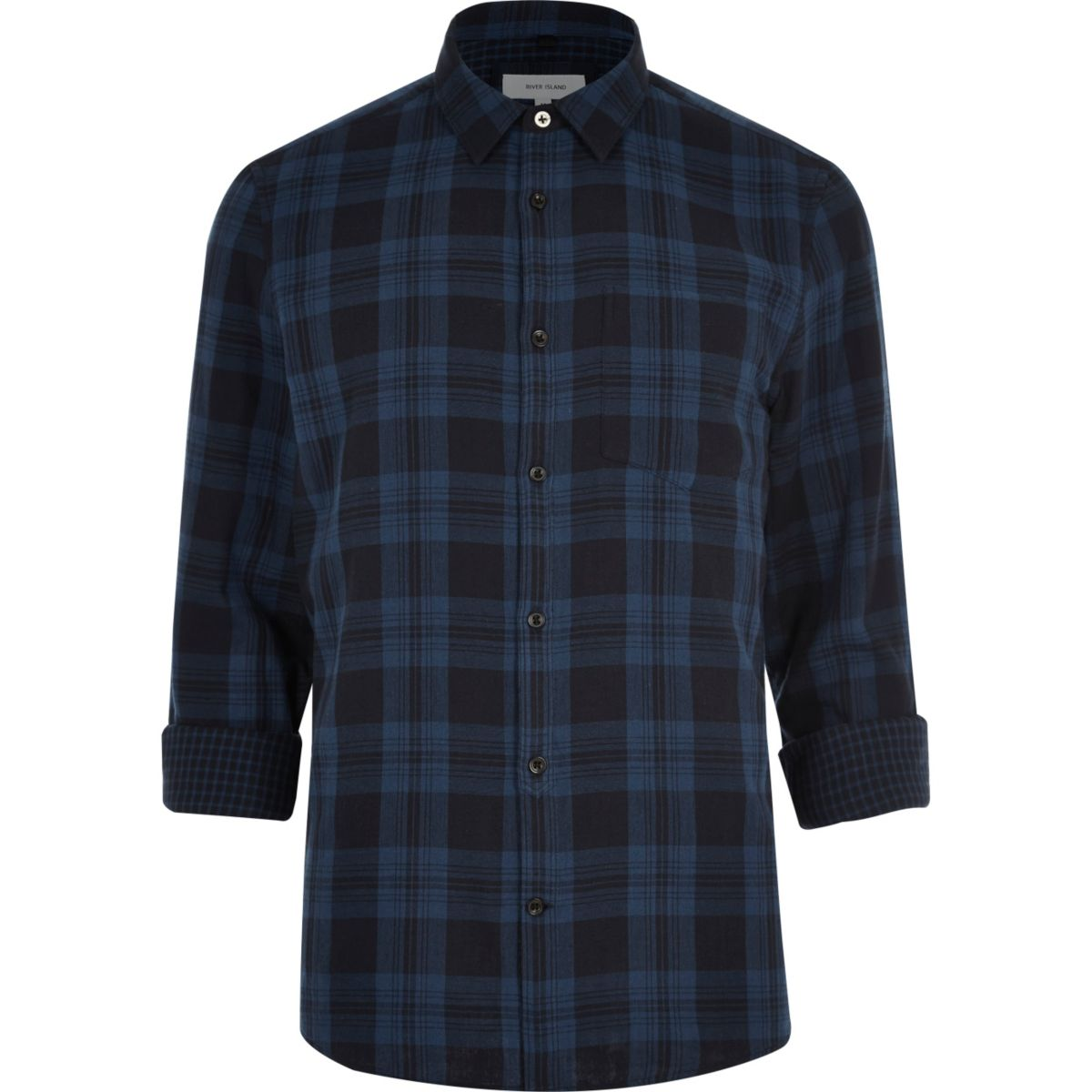 Navy double faced casual check shirt
