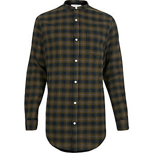 Green check longline grandad shirt