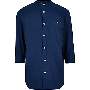 Indigo casual textured grandad shirt