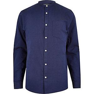 Blue casual Oxford grandad shirt
