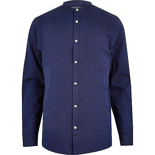 Blue casual Oxford grandad shirt