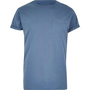T-shirt bleu avec poche poitrine