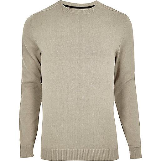 Stone crew neck jumper