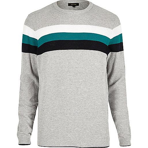 Grey chest stripe jumper