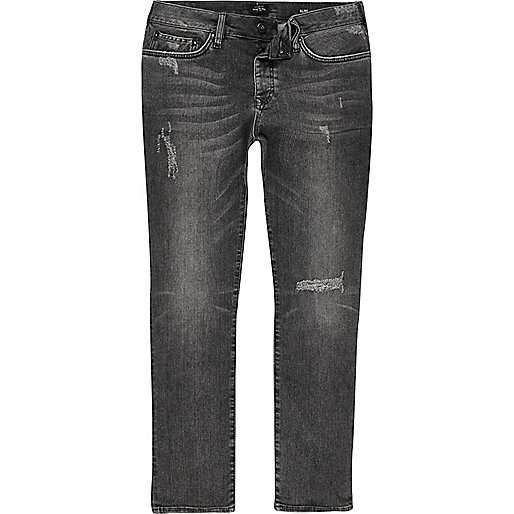 Dylan – Graue Slim Fit Jeans im Used-Look
