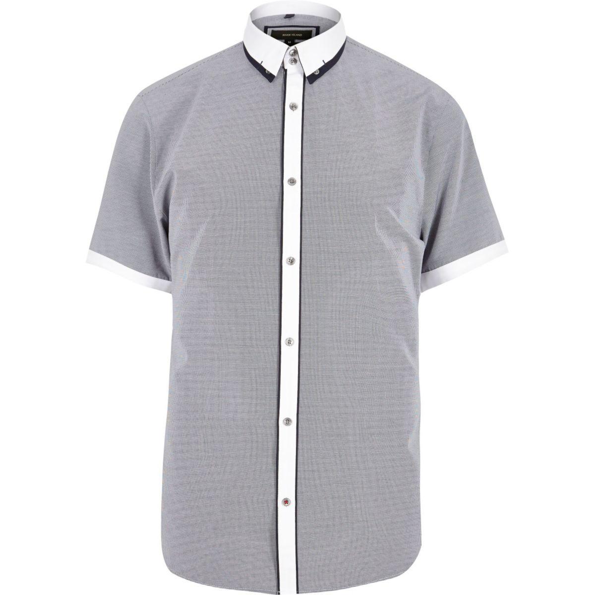 Navy Contrast Slim Fit Shirt Shirts Sale Men