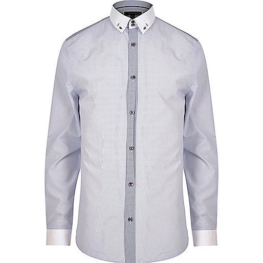 Navy smart slim fit shirt