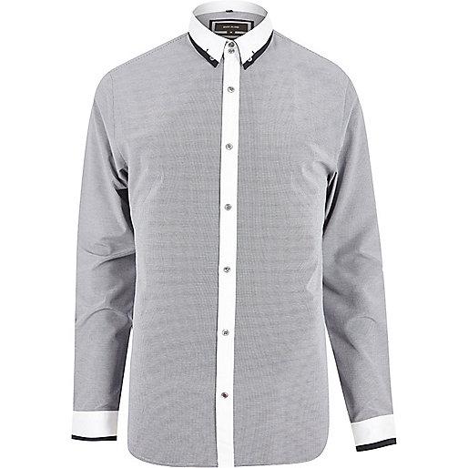 Chemise bleu marine contrastée cintrée habillée
