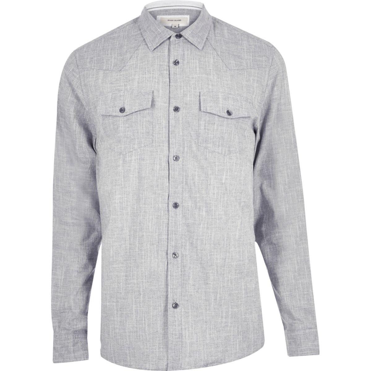 Grey crosshatch western shirt
