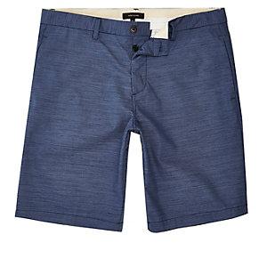 Blue textured slim fit chino shorts