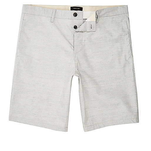 White marl slim fit chino shorts