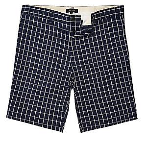 Navy checked slim fit chino shorts