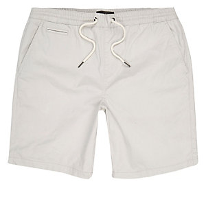 Light grey slim fit casual shorts