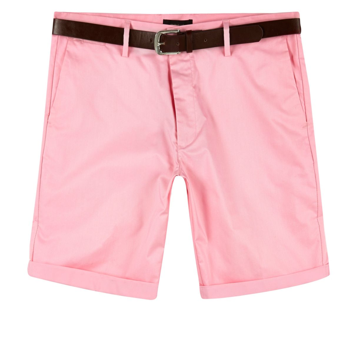 Pink belted Oxford shorts
