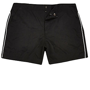 Black side stripe swim trunks