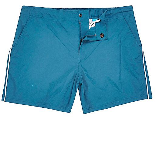 Blue side stripe swim shorts