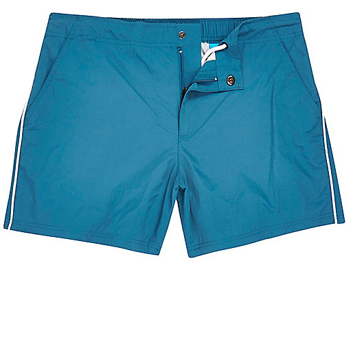 Blue side stripe swim trunks
