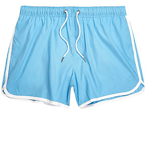 Blue stripe runner swim shorts