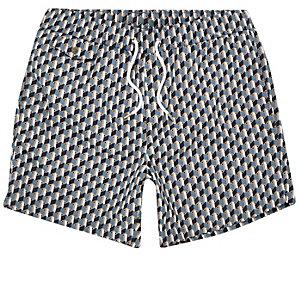 Blaue Badeshorts mit geometrischem Muster