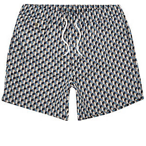 Blue geometric print swim trunks
