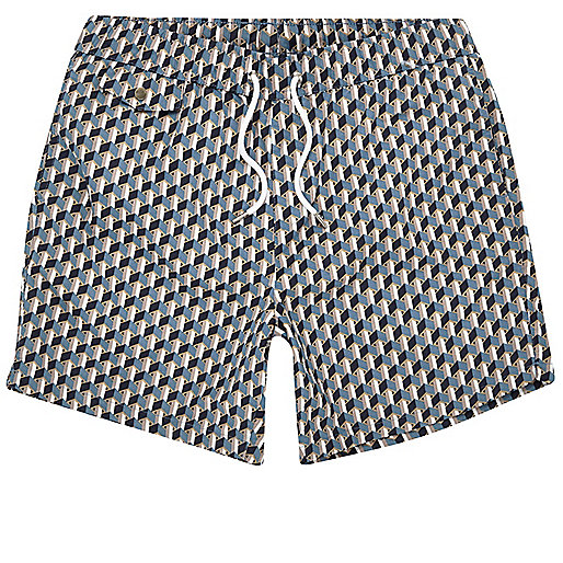 Blue geometric print swim trunks