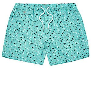 Mint blobby print swim trunks