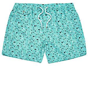 Mint blobby print swim trunks