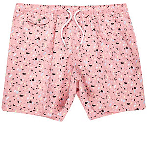 Pink blobby print swim trunks