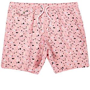 Pink blobby print swim trunks