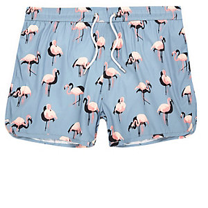 Blue flamingo print runner swim trunks