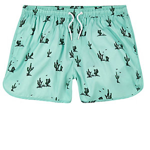 Green cactus print runner swim trunks