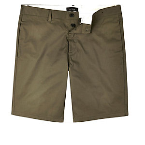 Khaki slim fit chino shorts